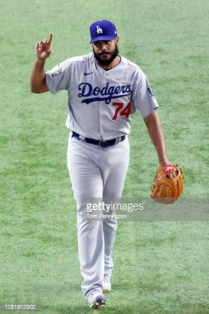 Kenley Jansen of the Los Angeles Dodgers celebrates after closing out the teams 6-2 victory against the Tampa Bay Rays in Game Three of the 2020 MLB...