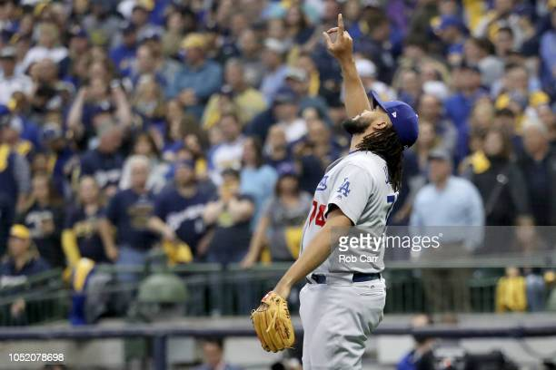 Kenley Jansen of the Los Angeles Dodgers celebrates after defeating the Milwaukee Brewers in Game Two of the National League Championship Series at...