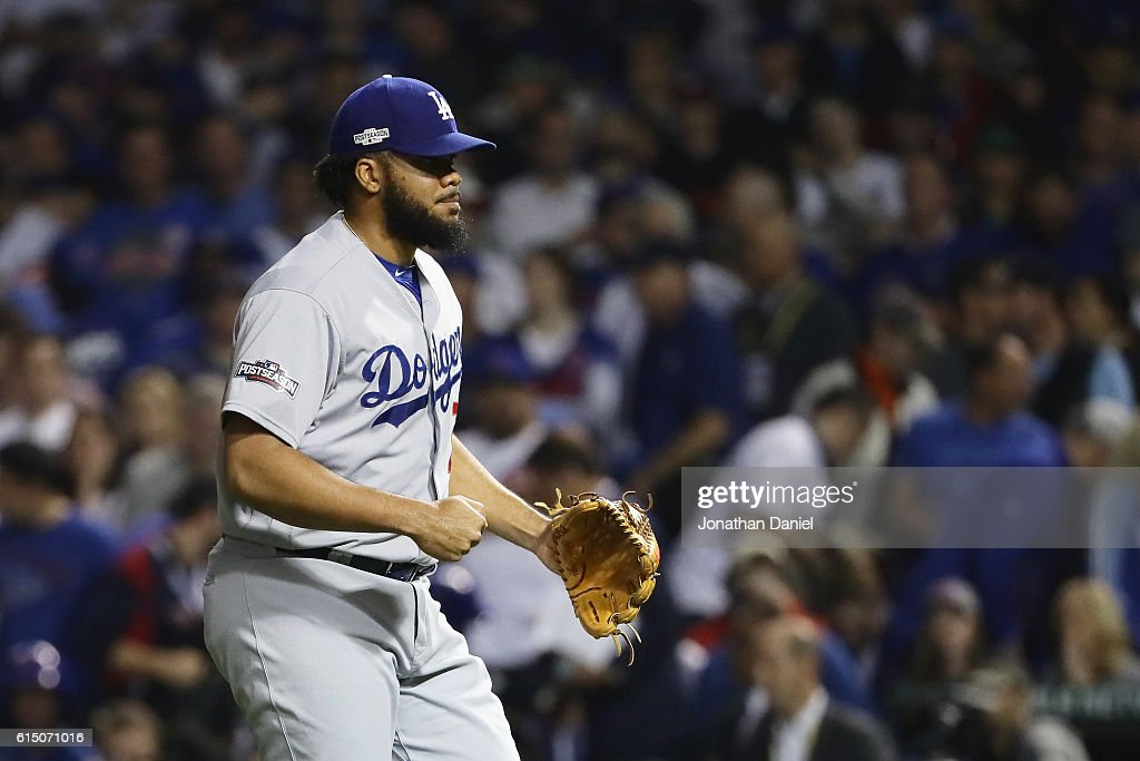 Kenley Jansen #74 of the Los Angeles Dodgers celebrates after defeating the Chicago Cubs 1-0 in game two of the National League Championship Series at Wrigley Field on October 16, 2016 in Chicago, Illinois.