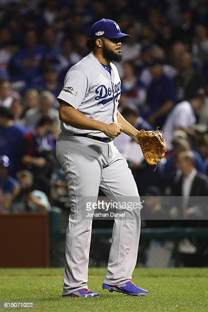 Kenley Jansen of the Los Angeles Dodgers celebrates after defeating the Chicago Cubs 10 in game two of the National League Championship Series at...