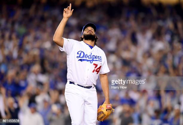Kenley Jansen of the Los Angeles Dodgers celebrates after defeating the Chicago Cubs in Game One of the National League Championship Series at Dodger...