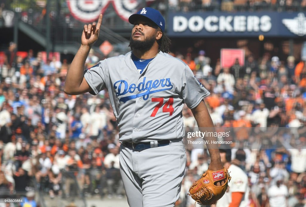 Kenley Jansen #74 of the Los Angeles Dodgers celebrates after striking out Brandon Belt #9 of the San Francisco Giants for the final out of the game at AT&T Park on April 8, 2018 in San Francisco, California. The Dodgers won the game in extra inning 2-1.