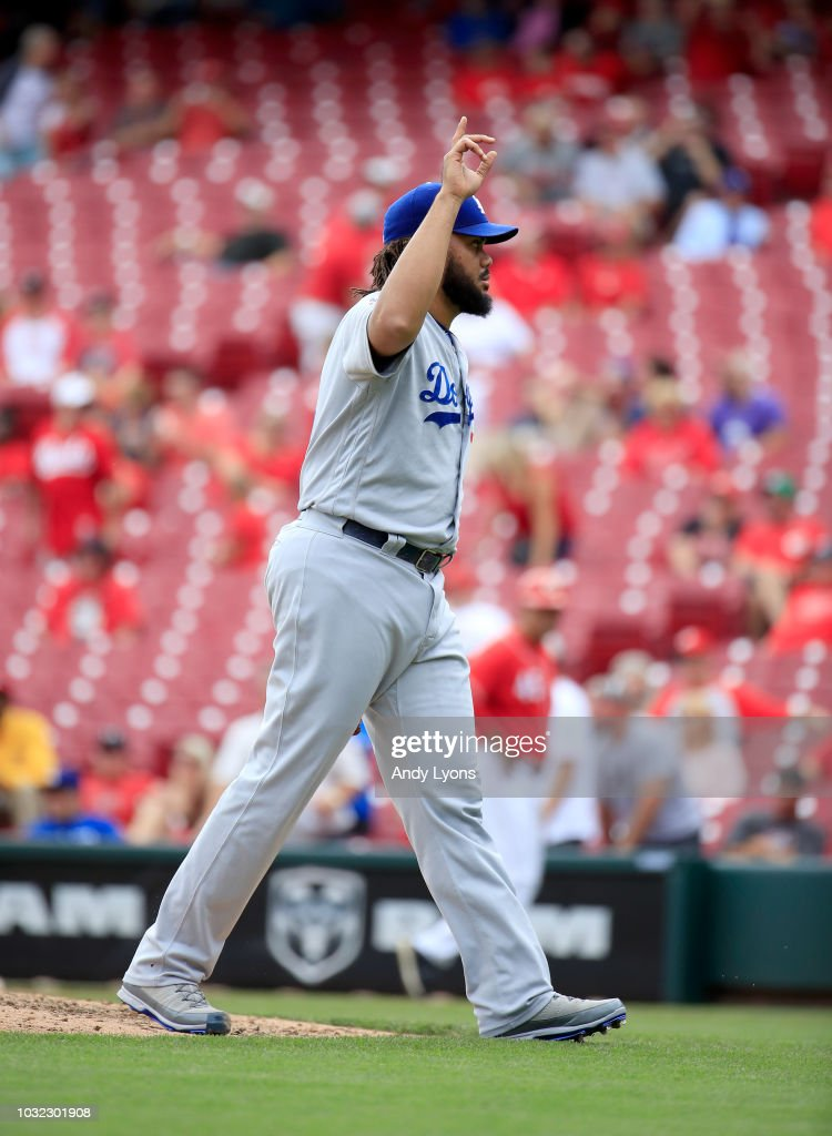 Kenley Jansen #74 of the Los Angeles Dodgers celebrates after the final out of the 8-1 win over the Cincinnati Reds at Great American Ball Park on September 12, 2018 in Cincinnati, Ohio.