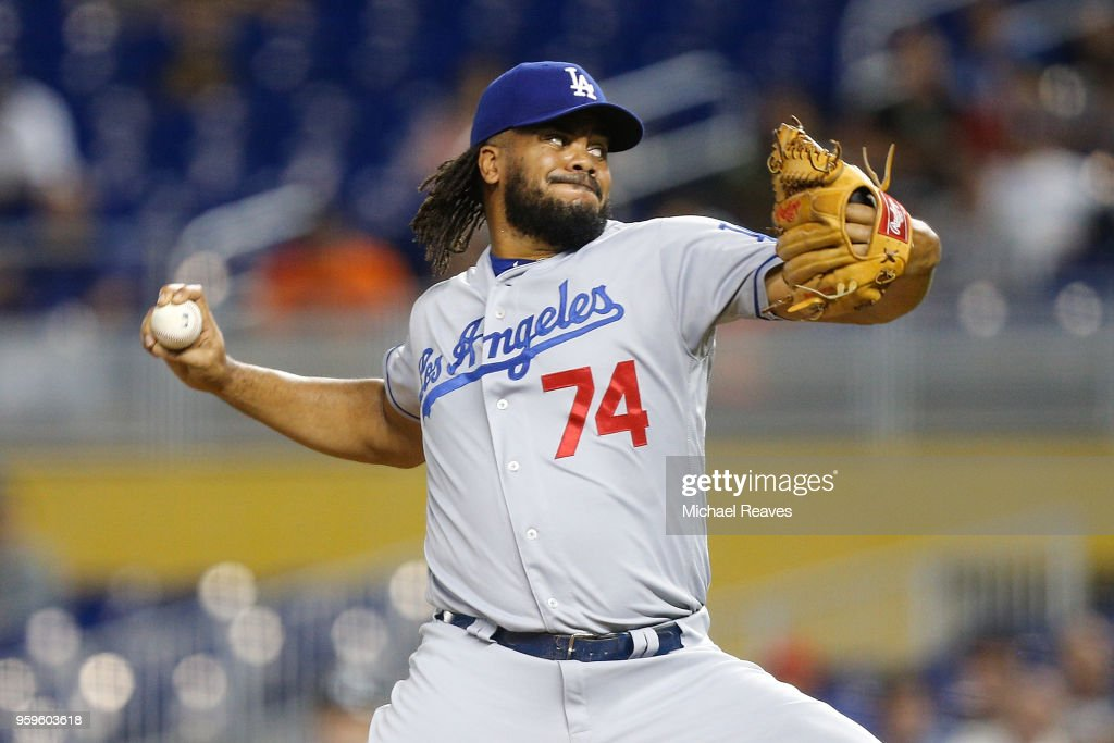 Kenley Jansen #74 of the Los Angeles Dodgers delivers a pitch in the ninth inning against the Los Angeles Dodgers at Marlins Park on May 17, 2018 in Miami, Florida.