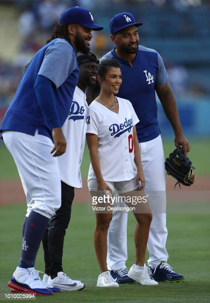 Kenley Jansen of the Los Angeles Dodgers Kevin Hart Kourtney Kardashian and Matt Kemp of the Los Angeles Dodgers pose for a photo after Hart and...