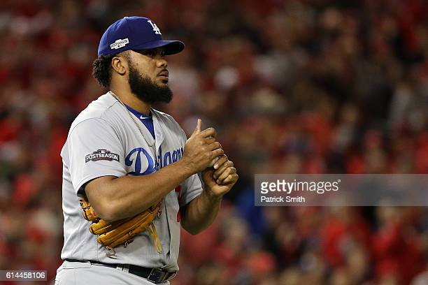 Kenley Jansen of the Los Angeles Dodgers looks on against the Washington Nationals in the ninth inning during game five of the National League...