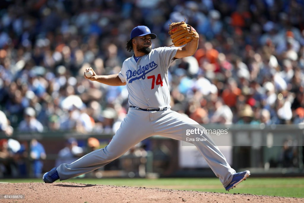 Kenley Jansen #74 of the Los Angeles Dodgers pitches against the San Francisco Giants in the ninth inning at AT&T Park on April 27, 2017 in San Francisco, California.