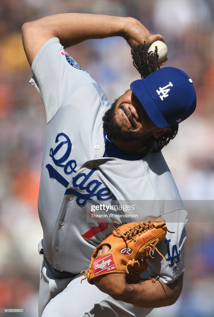 Kenley Jansen #74 of the Los Angeles Dodgers pitches against the San Francisco Giants in the bottom of the 10th inning at AT&T Park on April 8, 2018 in San Francisco, California. The Dodgers won the game in extra inning 2-1.