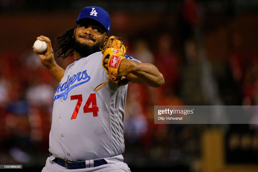 Kenley Jansen #74 of the Los Angeles Dodgers pitches against the St. Louis Cardinals in the ninth inning at Busch Stadium on September 13, 2018 in St. Louis, Missouri.