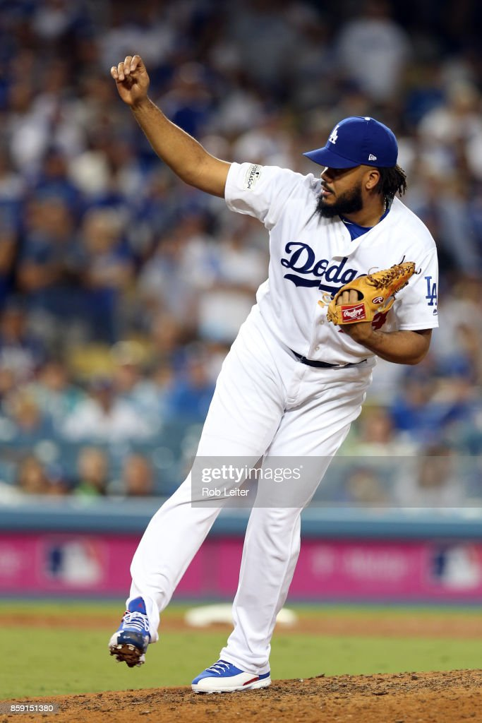Kenley Jansen #74 of the Los Angeles Dodgers pitches during Game 1 of the National League Division Series against the Arizona Diamondbacks at Dodger Stadium on Friday, October 6, 2017 in Los Angeles, California.