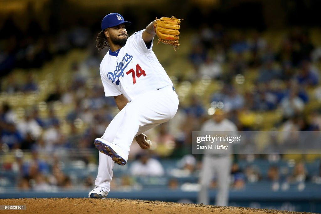 Kenley Jansen #74 of the Los Angeles Dodgers pitches during the ninthinning of a game against the Oakland Athletics at Dodger Stadium on April 10, 2018 in Los Angeles, California.