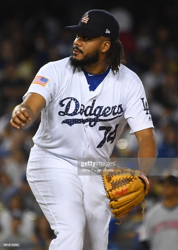 Kenley Jansen #74 of the Los Angeles Dodgers pitches for a save in the ninth inning against the Pittsburgh Pirates at Dodger Stadium on July 4, 2018 in Los Angeles, California.