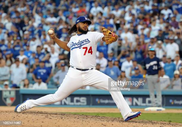 Kenley Jansen of the Los Angeles Dodgers pitches in the ninth inning of Game 5 of the NLCS against the Milwaukee Brewers at Dodger Stadium on...