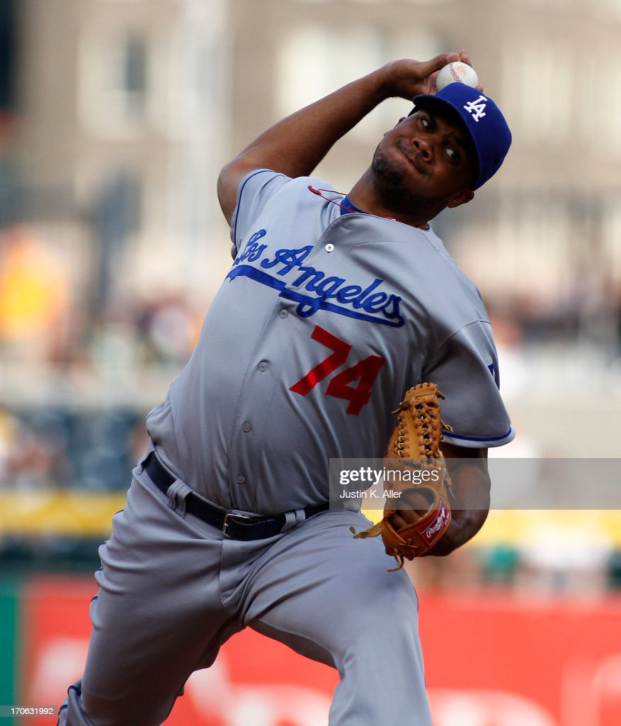 Kenley Jansen #74 of the Los Angeles Dodgers pitches in the ninth inning against the Pittsburgh Pirates during the game on June 15, 2013 at PNC Park in Pittsburgh, Pennsylvania. The Dodgers defeated the Pirates 5-3.