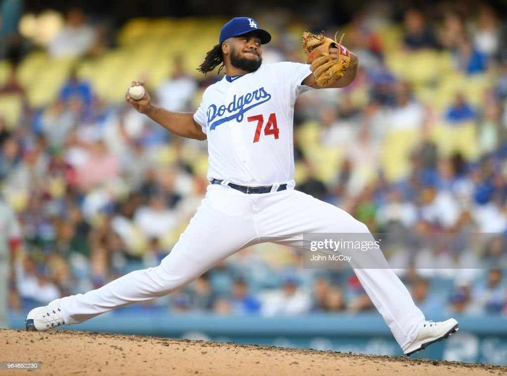 Kenley Jansen #74 of the Los Angeles Dodgers pitches in the ninth inning in a 2-1 loss to the Philadelphia Phillies at Dodger Stadium on May 31, 2018 in Los Angeles, California.