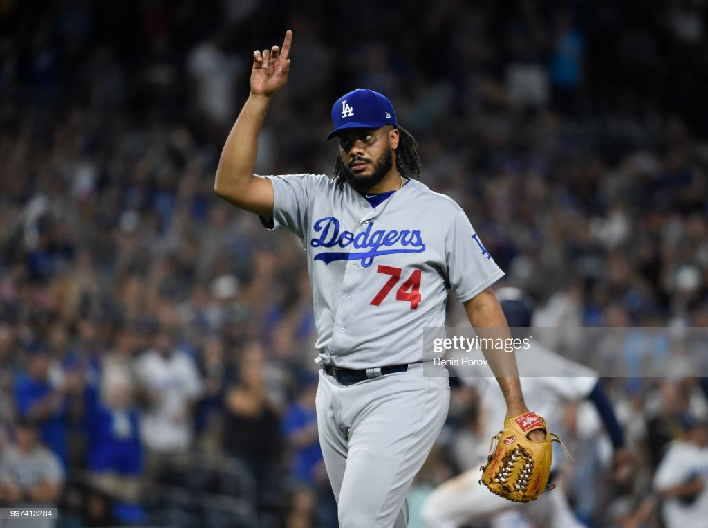 Kenley Jansen #74 of the Los Angeles Dodgers points skyward after getting the final out during the ninth inning of a baseball game against the San Diego Padres at PETCO Park on July 12, 2018 in San Diego, California. The Dodgers won 3-2.