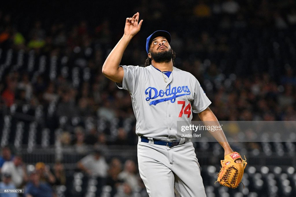 Kenley Jansen #74 of the Los Angeles Dodgers points to the sky after the final out in the Los Angeles Dodgers 8-5 win over the Pittsburgh Pirates at PNC Park on August 22, 2017 in Pittsburgh, Pennsylvania.