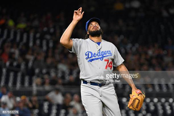 Kenley Jansen of the Los Angeles Dodgers points to the sky after the final out in the Los Angeles Dodgers 8-5 win over the Pittsburgh Pirates at PNC...