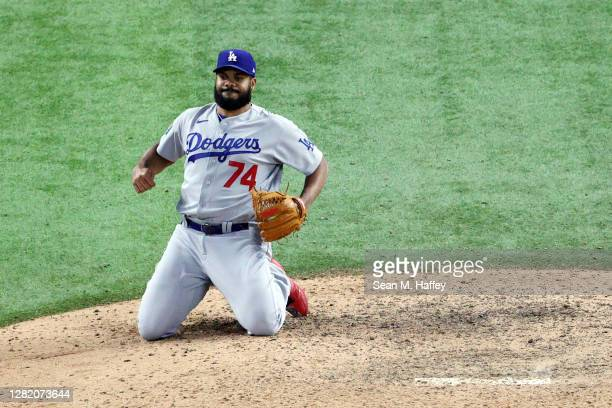 Kenley Jansen of the Los Angeles Dodgers reacts after allowing the game-winning single to Brett Phillips , of the Tampa Bay Rays during the ninth...