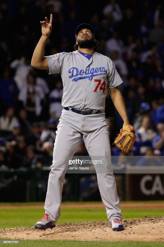 Kenley Jansen #74 of the Los Angeles Dodgers reacts after defeating the Chicago Cubs 6-1 in game three of the National League Championship Series at Wrigley Field on October 17, 2017 in Chicago, Illinois.