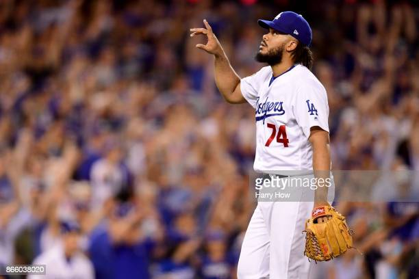 Kenley Jansen of the Los Angeles Dodgers reacts after defeating the Houston Astros 31 in game one of the 2017 World Series at Dodger Stadium on...