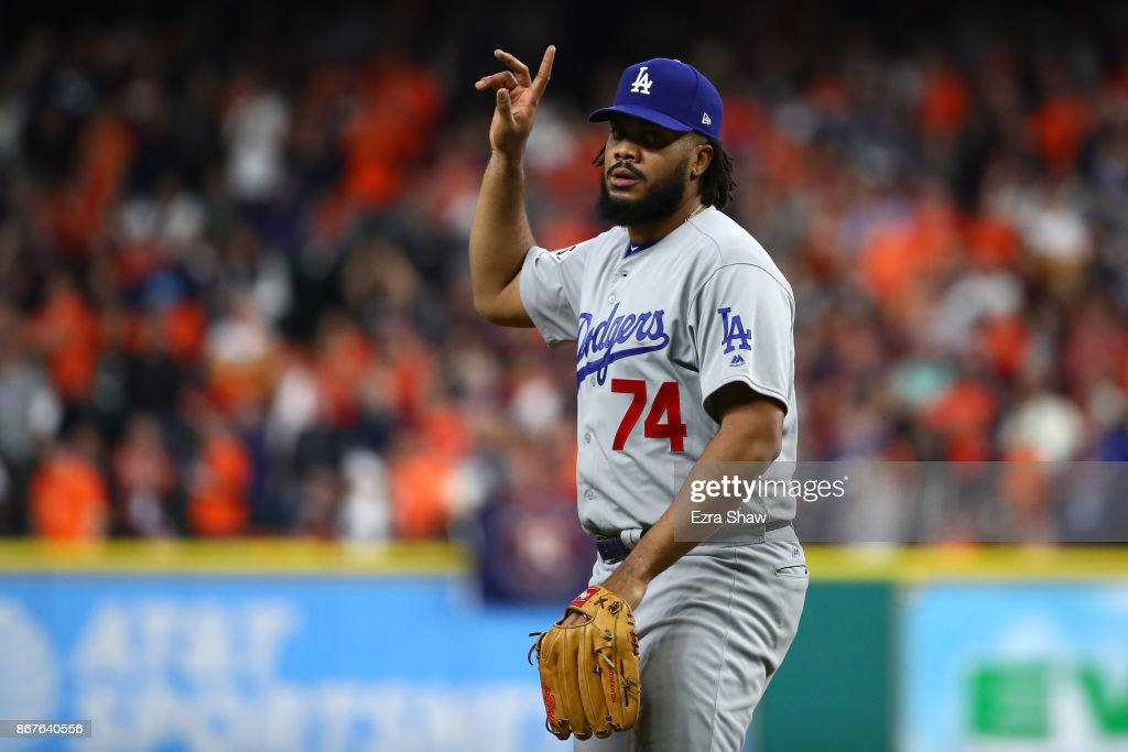 Kenley Jansen #74 of the Los Angeles Dodgers reacts after defeating the Houston Astros in game four of the 2017 World Series at Minute Maid Park on October 28, 2017 in Houston, Texas. The Dodgers defeated the Astros 6-2.