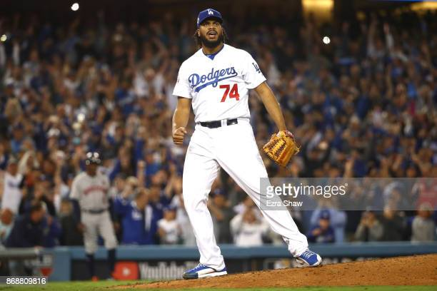 Kenley Jansen of the Los Angeles Dodgers reacts after defeating the Houston Astros 31 in game six of the 2017 World Series at Dodger Stadium on...