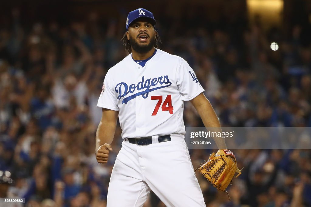 Kenley Jansen #74 of the Los Angeles Dodgers reacts after defeating the Houston Astros 3-1 in game six of the 2017 World Series at Dodger Stadium on October 31, 2017 in Los Angeles, California.