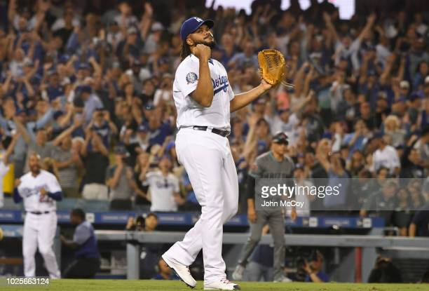 Kenley Jansen of the Los Angeles Dodgers reacts to earning the save in a 32 victory over the Arizona Diamondbacks at Dodger Stadium on August 31 2018...