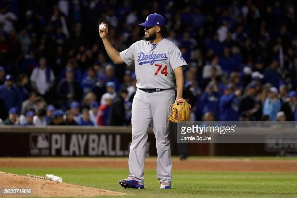 Kenley Jansen of the Los Angeles Dodgers stands on the field in the ninth inning against the Chicago Cubs during game five of the National League...