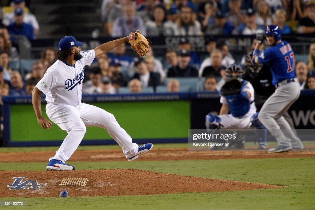 Kenley Jansen #74 of the Los Angeles Dodgers throws a pitch against Kris Bryant #17 of the Chicago Cubs in Game One of the National League Championship Series at Dodger Stadium on October 14, 2017 in Los Angeles, California.