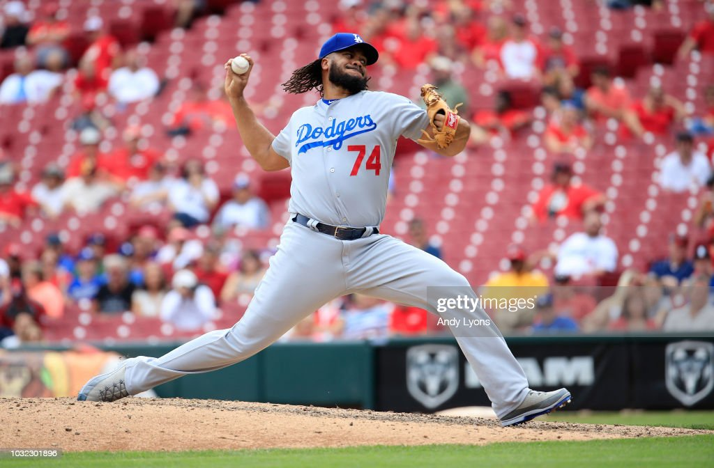 Kenley Jansen #74 of the Los Angeles Dodgers throws a pitch against the Cincinnati Reds at Great American Ball Park on September 12, 2018 in Cincinnati, Ohio.