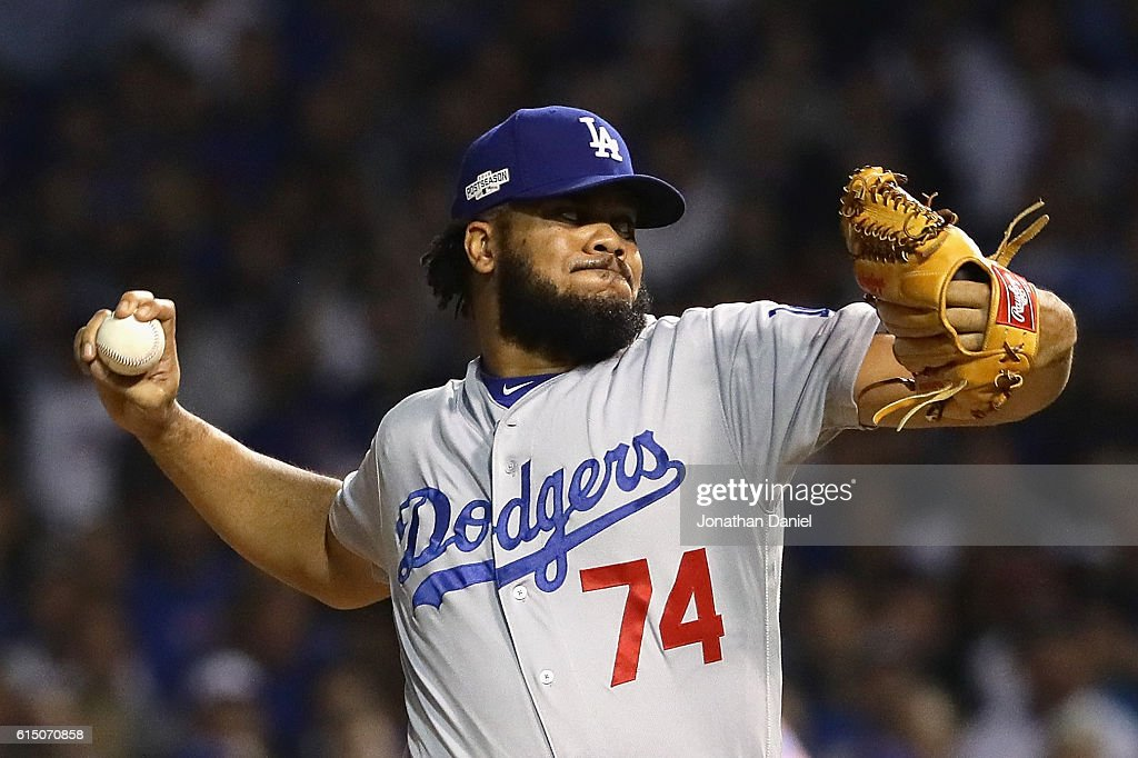 Kenley Jansen #74 of the Los Angeles Dodgers throws a pitch in the eighth inning against the Chicago Cubs during game two of the National League Championship Series at Wrigley Field on October 16, 2016 in Chicago, Illinois.