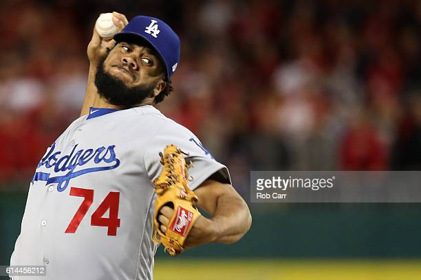 Kenley Jansen of the Los Angeles Dodgers works against the Washington Nationals in the seventh inning during game five of the National League...