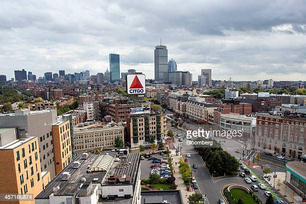 Kenmore Square foreground stands with the city skyline behind it Boston Massachusetts US on Tuesday Oct 7 2014 Boston ranked fifth among US cities in...
