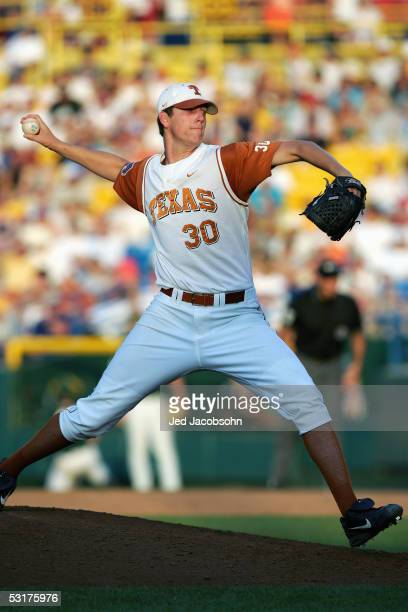 Kenn Kasparek of the Texas Longhorns pitches during game 12 of the 59th College World Series with the Baylor Bears at Rosenblatt Stadium on June 22,...