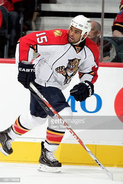 Kenndal McArdle of the Florida Panthers skates against the Calgary Flames on October 14 2010 at the Scotiabank Saddledome in Calgary Alberta Canada...