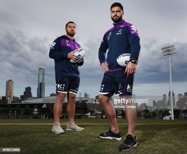 Kenneath Bromwich and brother Jesse Bromwich pose during a Melbourne Storm NRL training session at AAMI Park on September 18 2017 in Melbourne...