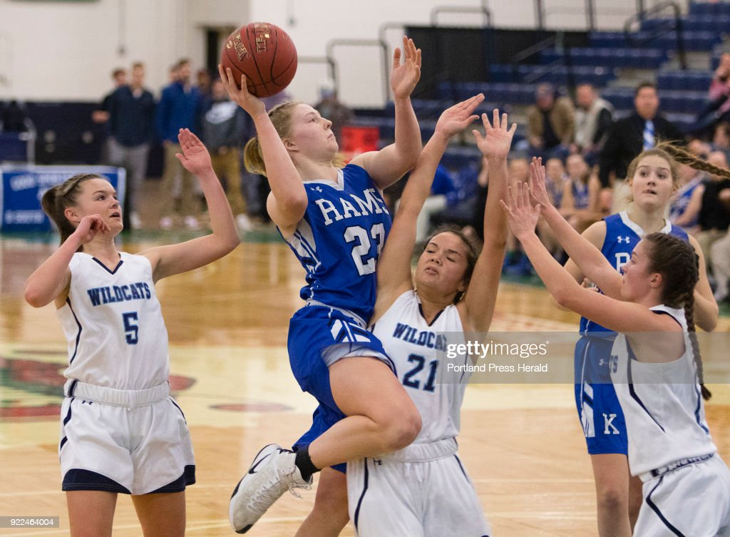 Kennebunks Emily Archibald goes up for the basket against Yorks Jacquelyn Tabora during the Maine Class A South quarterfinals on Monday, February 19, 2018 at the Portland Expo.