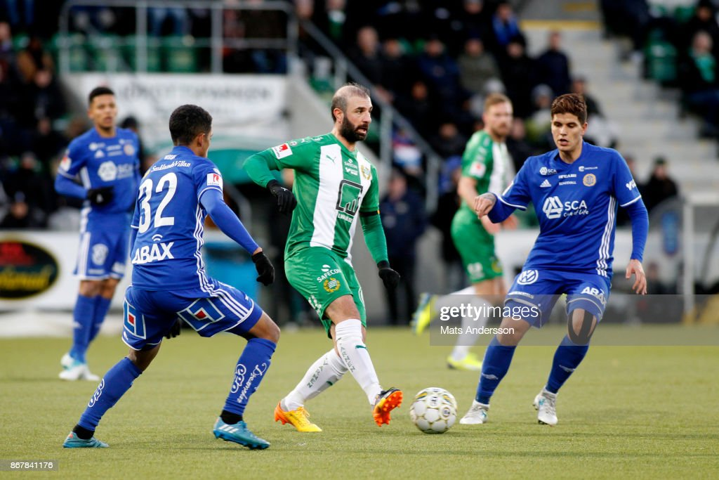 Kennedy Bakircioglu of Hammarby IF and David Batanero of GIF Sundsvall during the Allsvenskan match between GIF Sundsvall and Hammarby IF at Norrporten Arena on October 29, 2017 in Sundsvall, Sweden.
