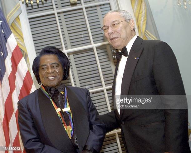 Kennedy Center Honoree James Brown and US Secretary of State Colin Powell