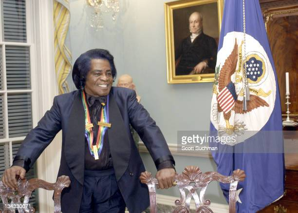 Kennedy Center Honoree James Brown during 2003 Kennedy Center Honors Honorees' Dinner Hosted by Secretary of State Colin Powell and Mrs Powell Inside...