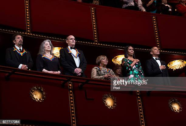 2016 Kennedy Center Honorees actor Al Pacino pianist Martha Argerich singer James Taylor singer Mavis Staples first lady Michelle Obama and President...