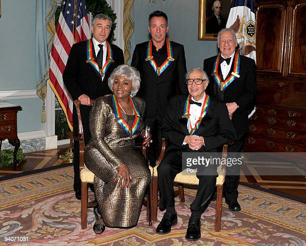 Kennedy Center honorees Front Row Grace Bumbry and Dave Brubeck Back Row Robert De Niro Bruce Springsteen and Mel Brooks pose for the formal group...