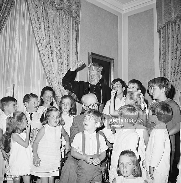 Kennedy children sing at a 70th birthday party for Cardinal Richard Cushing Cushing performed the marriage of John F Kennedy and Jacqueline Kennedy...