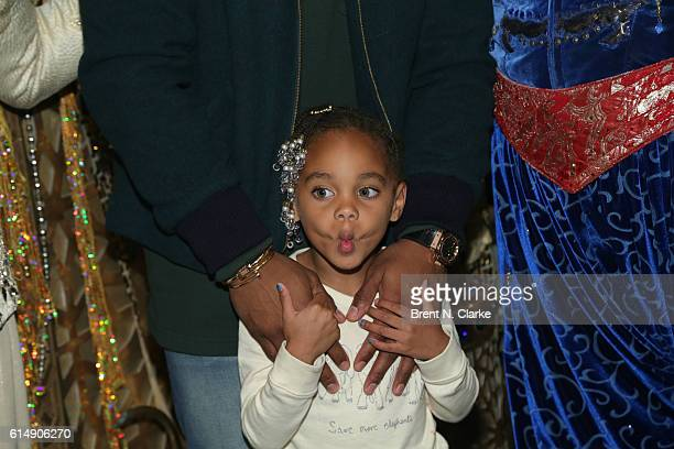 Kennedy Cruz daughter of professional football player Victor Cruz poses for photographs after attending Aladdin on Broadway at the New Amsterdam...