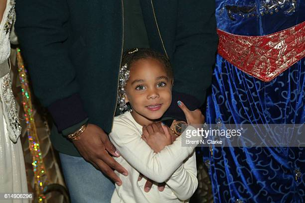 Kennedy Cruz daughter of professional football player Victor Cruz poses for photographs after attending 'Aladdin' on Broadway at the New Amsterdam...