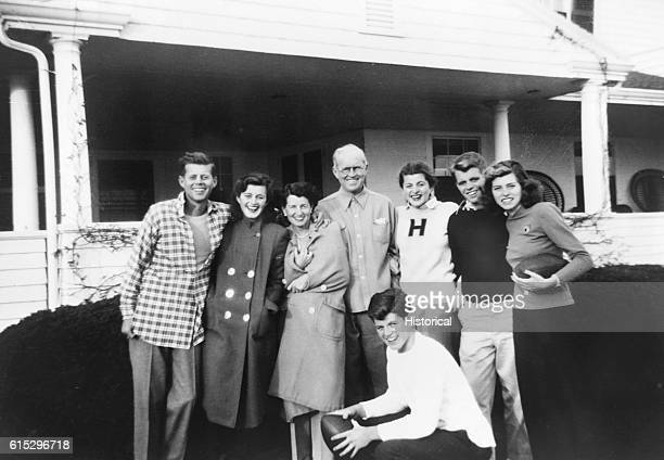 Kennedy family at Thanksgiving at Hyannisport Massachusetts 1948 From left John F Kennedy Jean Ann Smith Rose Kennedy Joseph Kennedy Sr Patricia...