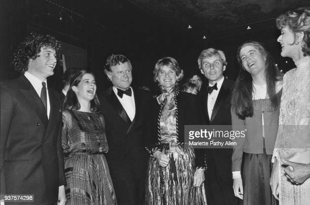Kennedy family members pose for a photograph at a black tie event From left Edward M Kennedy Jr Kara Kennedy Senator Edward M Kennedy Jean Kennedy...