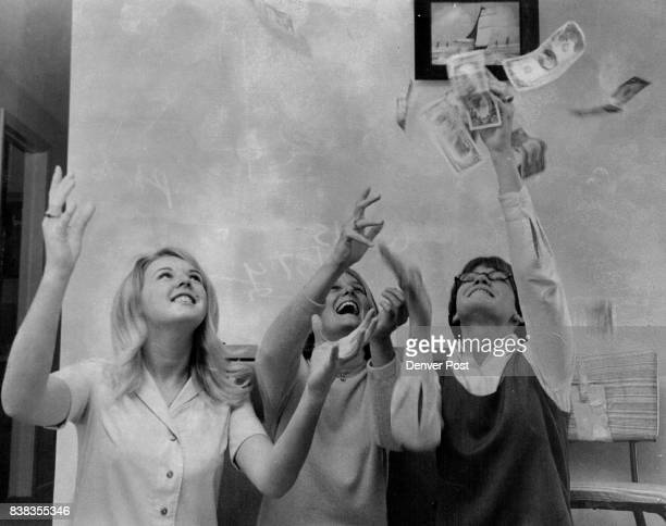 Kennedy High School Girls Get Funds In A Hurry To Send Parcels To Vietnam From left Carol Bone Pat White Pat Cleary toss the postage money happily...